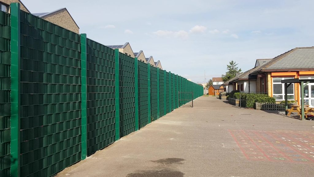 Security fence with integral screen