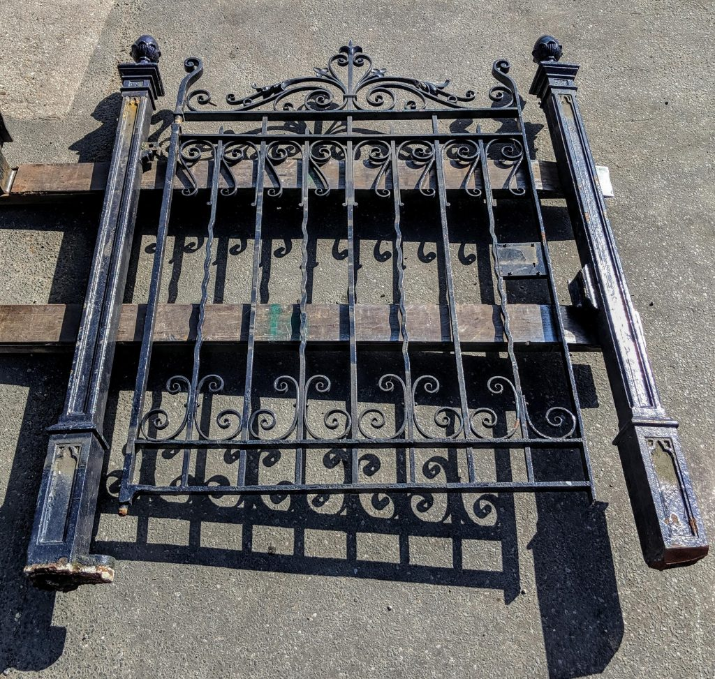 Vintage Steel Gate with Decorative Cast Iron